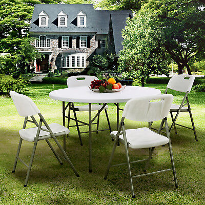 Portable Round Folding Table Dining Table and Chairs Set Outdoor Garden - White Round Table