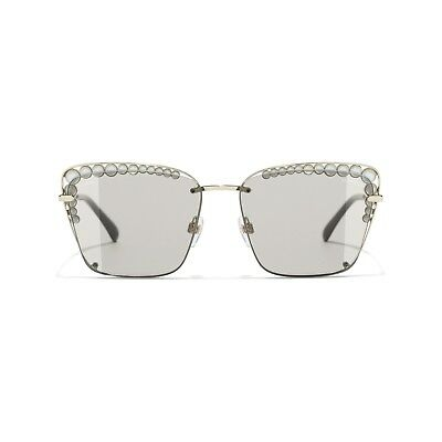 $780 NEW CHANEL Square Sunglasses Faux Pearls Gold Frame Light Brown (Fake Chanel Sunglasses)