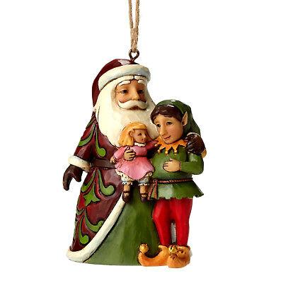 Jim Shore*SANTA CLAUS with ELF ORNAMENT*New*NIB*Doll*CHRISTMAS*4049409 ()
