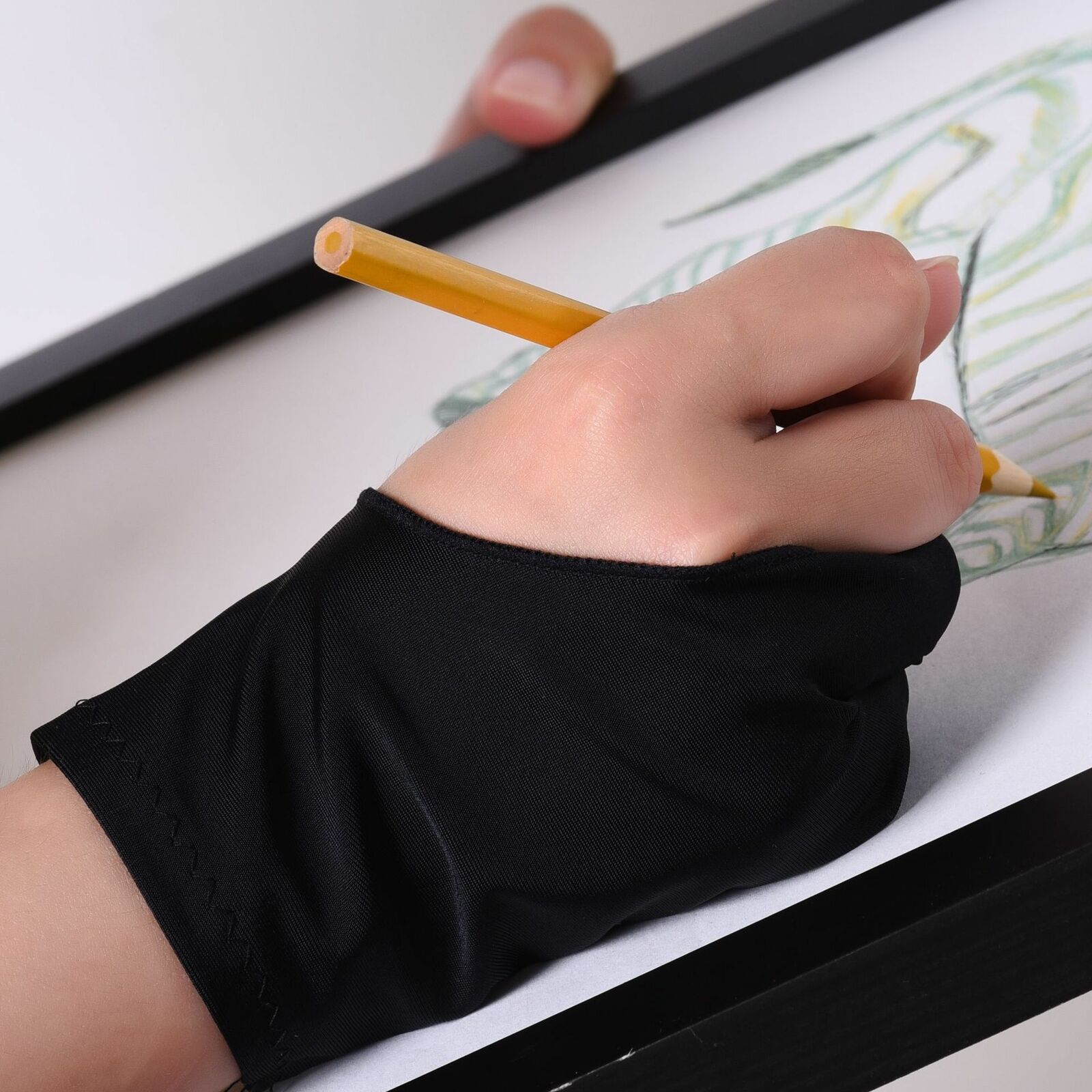Two Finger Anti-fouling Glove For Artist Drawing /& Pen Graphic Tablet Pad HI