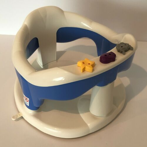 Aquababy Thermobaby Infant Baby Safety Bath Seat Blue White Suction Cups Toys