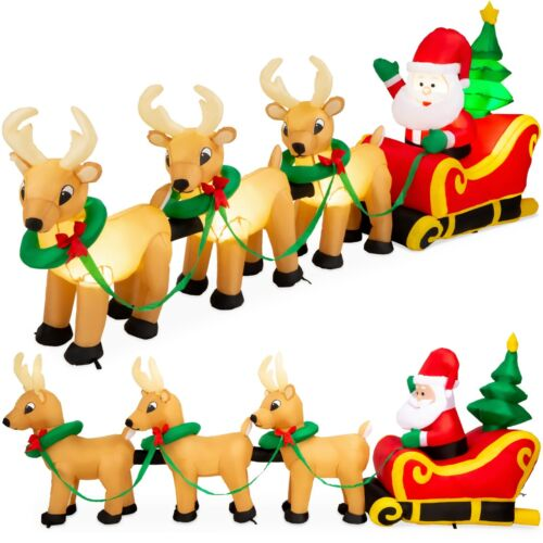 9 Ft Christmas Inflatable Santa Claus Reindeer Sleigh Airblown Yard Decoration
