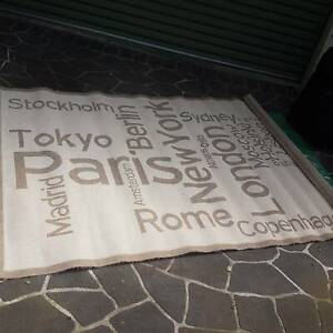 Rug with famous city names.