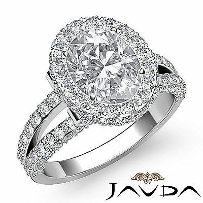 2.4ct Glistening Oval Diamond Engagement Ring H SI1 GIA Certified 14k White Gold