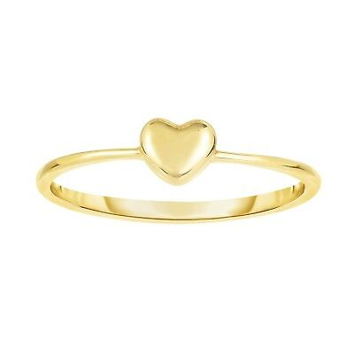 Size 7 Puffed Small Heart Design Ring Solid Real 14K Yellow Gold - Ladies Puffed Heart