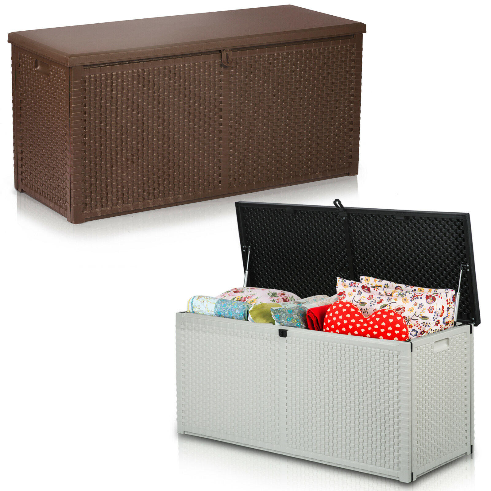 XL Auflagenbox Kissenbox Gartenbox Gartentruhe Kunststoff Anthrazit 320L