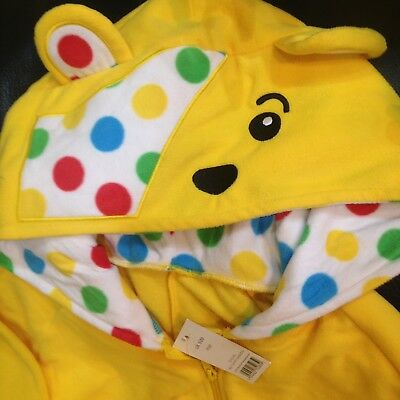 Children In Need Pudsey Bear Jumpsuit Adult S M L XL Fancy Dress - Pudsey Bear Fancy Dress Kostüm