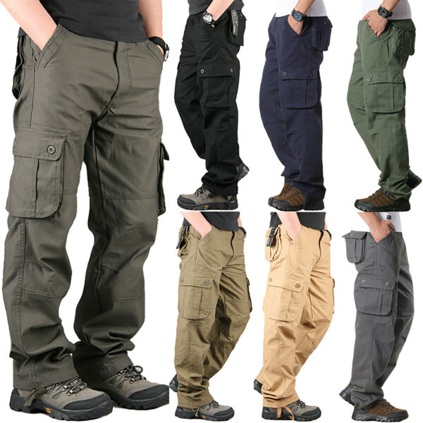 Mens Military Army Combat Trousers Work Cargo Pants Casual Walking Multi Pocket 1