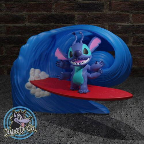 Lilo and Stitch Catching A Wave Surfing Collectible Figure Handmade Art Kit