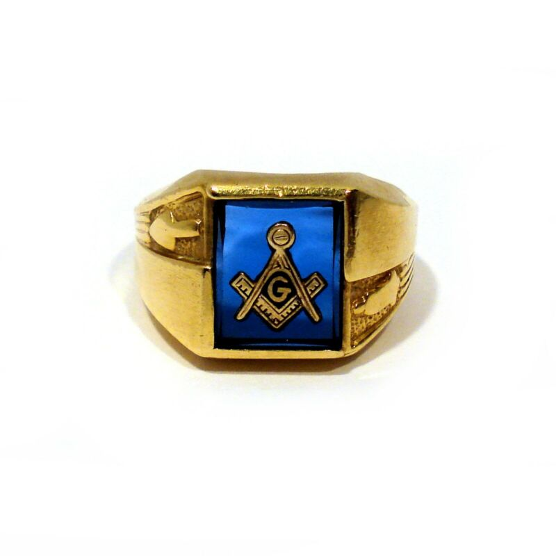 KIMBERLY SOLID 14K YELLOW GOLD SYNTHETIC SAPPHIRE MASONIC RING ~ SIZE 12 1/4