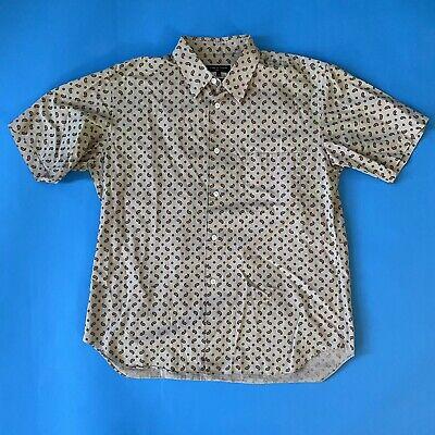 Comme Des Garçons Homme Plus Button Front Shirt Medium Brown Tan Paisley Floral