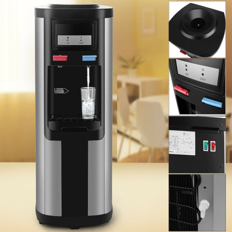 5 Gallon Top Loading Stainless Steel Hot/Cold Water Cooler Dispenser Home Office