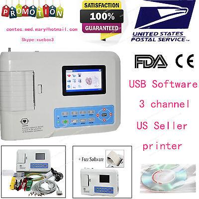 Contec Ecg300g Digital 3-channel 12-lead Electrocardiograph Ecg Machine Pc Sw