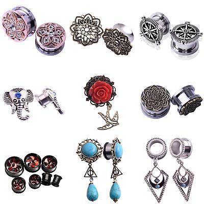 Ear Plugs Body Jewellery - 1 Pair Ear Gauges Ear Plugs Dangle Flesh Tunnels Ear Stretching Jewelry Showy