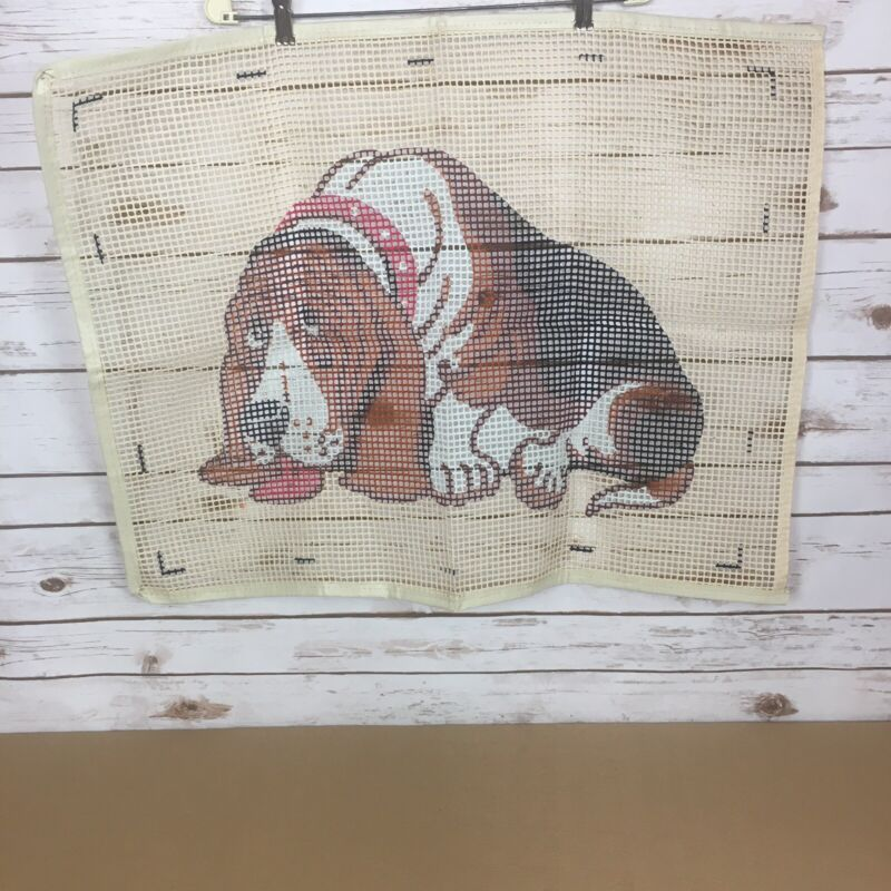 "Vintage Latch Hook Rug Canvas 30""x23"" Basset Hound Dog  - Canvas Only"