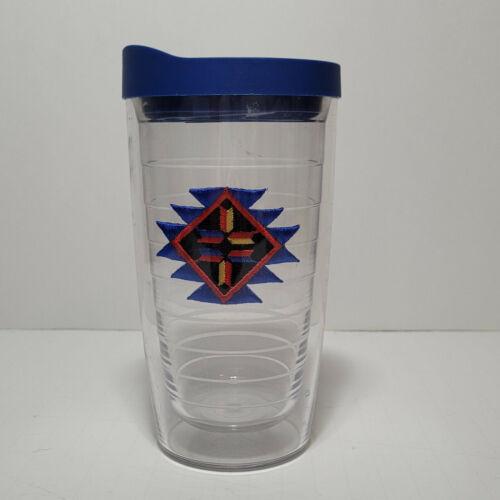(1) TERVIS TUMBLER 16oz Clear Cup w/ Blue Lid / Aztec  Adorable!