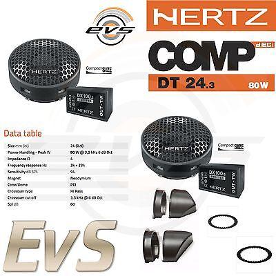 Hertz DT 24.3 Coppia Tweeter Auto Neodimio 80W NUOVI + Filtri Crossover Dedicati