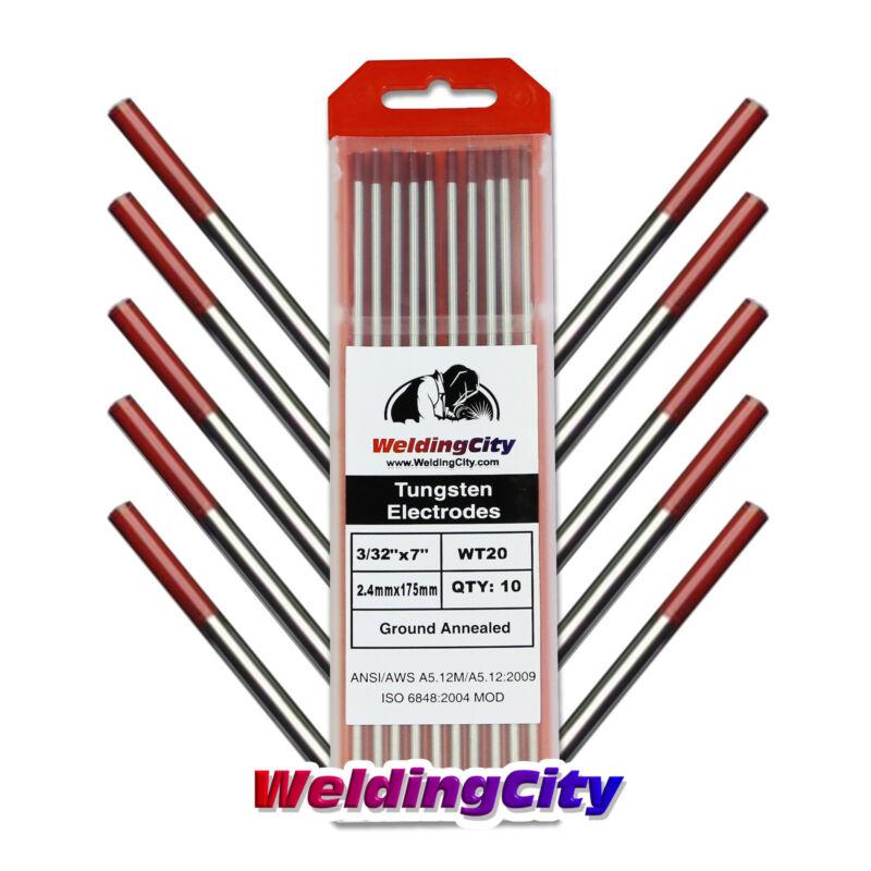 "WeldingCity 10-pk TIG Welding Tungsten Electrode 2% Thoriated (Red) 3/32""x7"" USA"