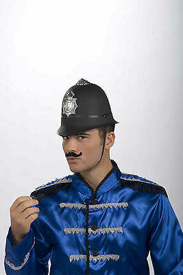 BOBBY HELMET BRITISH UK KEYSTONE COP POLICEMAN COSTUME HAT CAP ENGLISH BLACK - Keystone Costume