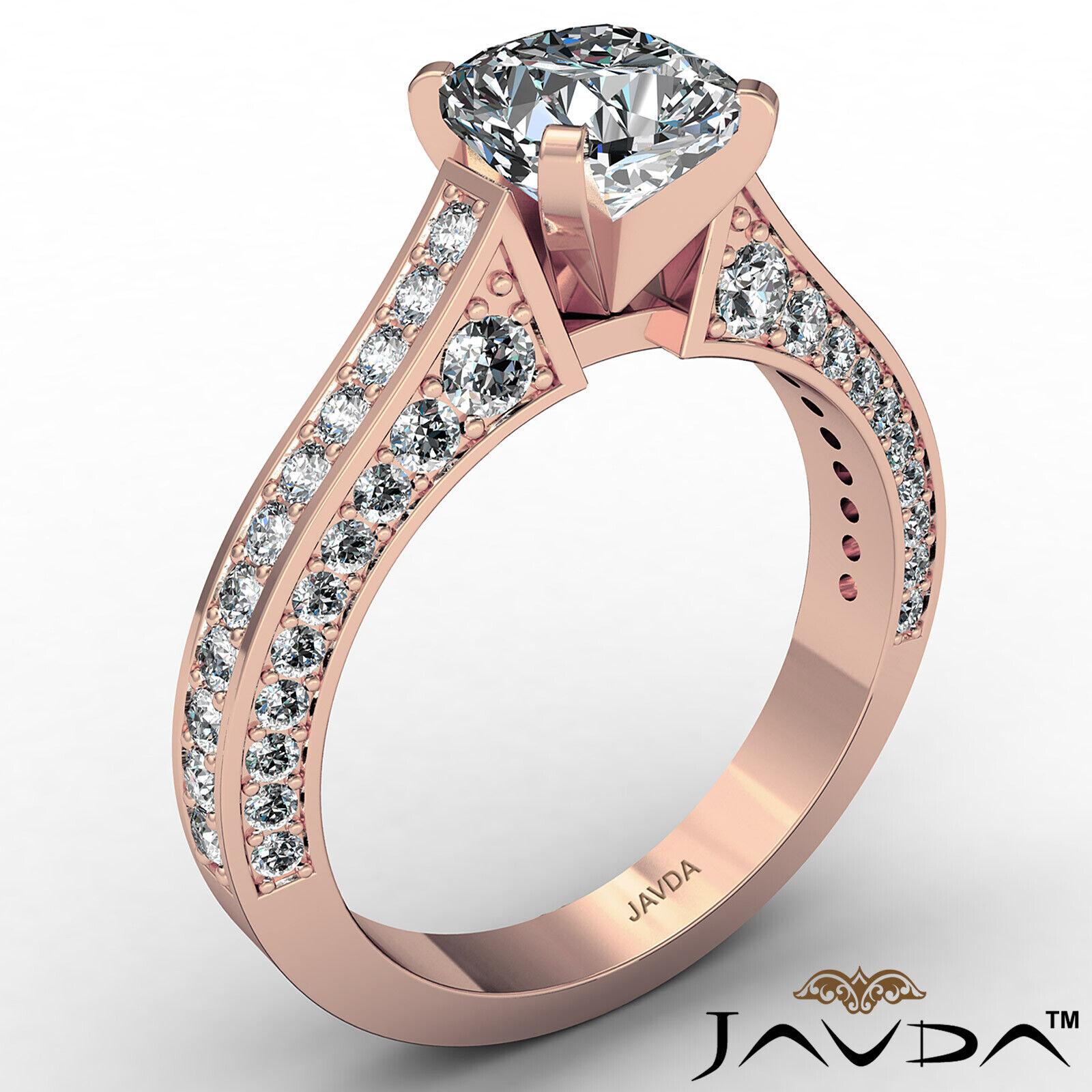 Cushion Diamond Engagement Pave Set Ring GIA J Color & VS2 clarity 1.82ctw 5