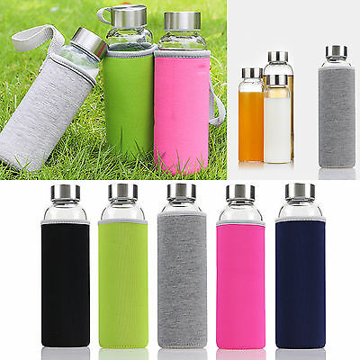550ML Sports Portable Glass Water Juice Bottle ...