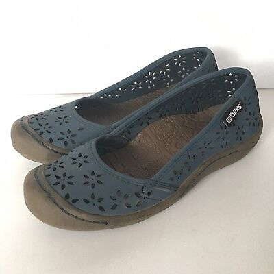 Sandy Ballet Flat - Muk Luks Women's Size 7.5 Sandy Ballet Flats Blue Perforated Flowers Slip On