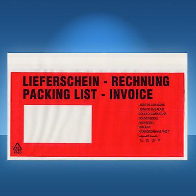 250 Dokumententaschen im Spenderkarton, Lieferscheintaschen, Versandtaschen