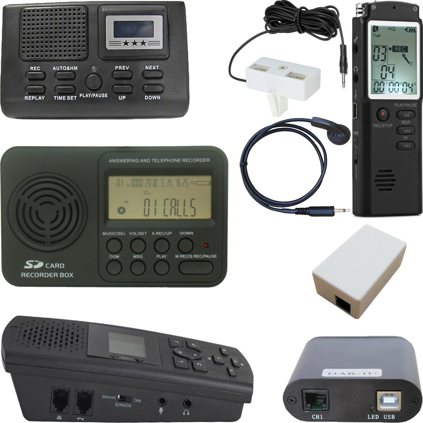 Digital Voice Activated Cell Phone Voice Telephone Room Landline Recorder
