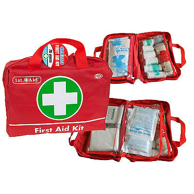 70 PIECE FIRST AID KIT BAG MEDICAL EMERGENCY TRAVEL HOME CAR TAXI WORKPLACE