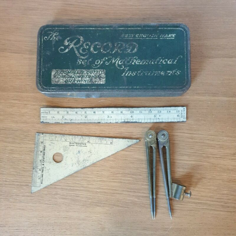 RECORD SET OF MATHEMATICAL INSTRUMENTS Vintage Tin Metal Box with Instruments