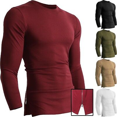 Mens ZIPPER HIPSTER Urban LONG SLEEVE Tee Casual Longline Side Basic T shirts
