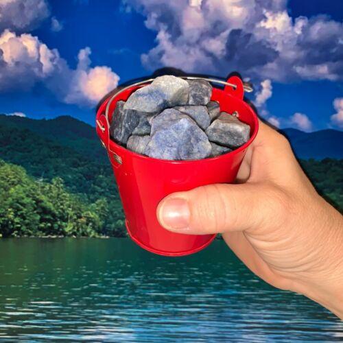 Bucket Full of Blue Quartz Rough + FREE faceted gemstone - Pick Bucket Color
