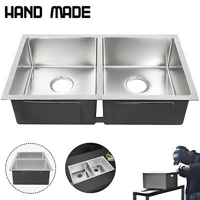 New Stainless Steel Kitchen Sink 2 Bowl 30x 18 Drop In Top Mount 18g Handmade