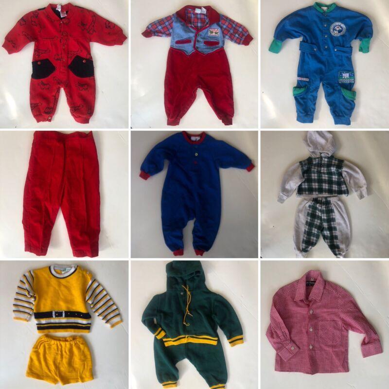 90s Vintage Lot 9 boy baby toddler 12-18 m 12M 18M 80s color block track hoodie