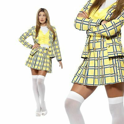 Women's Licensed Clueless Cher Fancy Dress Costume Tartan Jacket Top Skirt Socks (Cher Clueless)