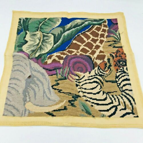 Vintage Animal Kingdom Elephant Tiger Zebra Giraffe Hidden Finished Needlepoint