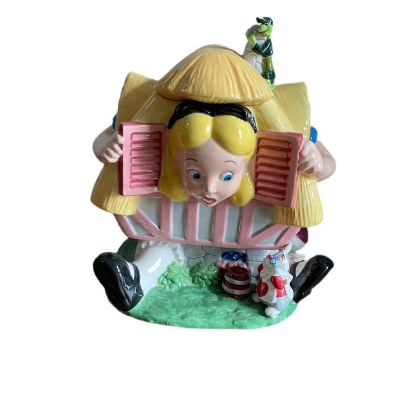 "Alice in Wonderland Cookie Jar With Lid Disney Store 12.5""H X 10""W X 9""D Huge"