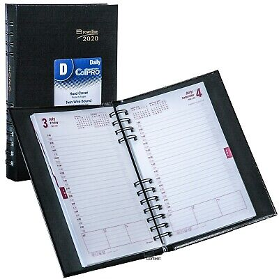 2020 Brownline Cb634c.blk Coilpro Daily Planner Hard Cover 5 X 8