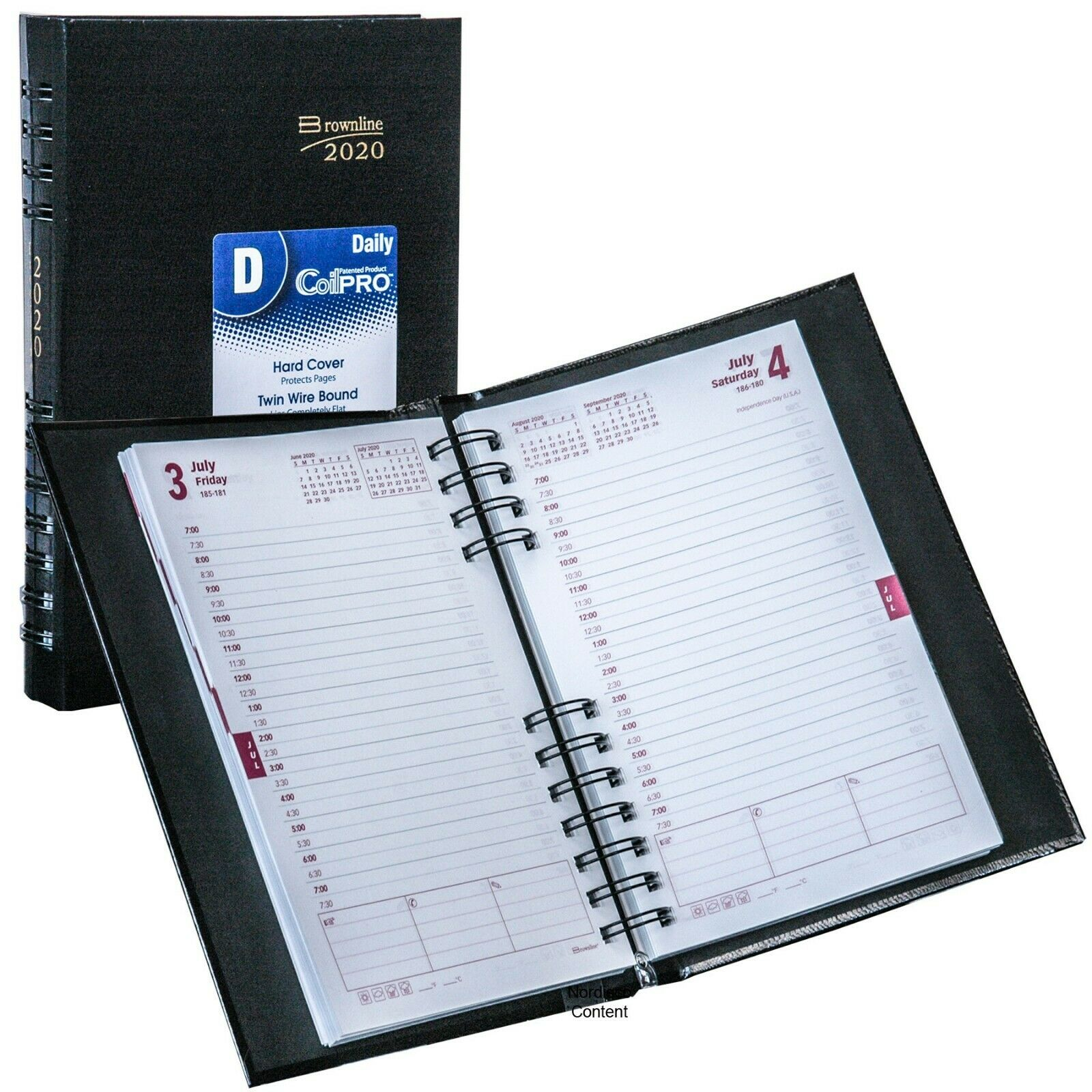 2020 Brownline CB634C.BLK CoilPRO Daily Planner, Hard Cover,
