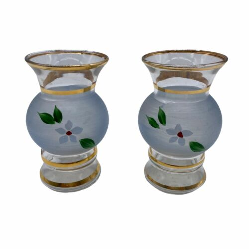 Pair of Hand Painted Bud Vases Frosted Glass Gold With Flowers