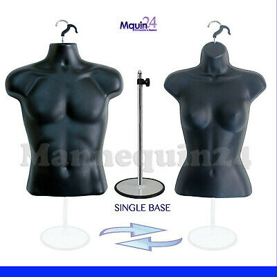 Male Female Torso Body Mannequin Forms - Black 2-hangers 1 Metal Stand