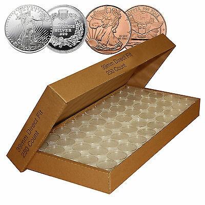50 DIRECT FIT AIRTIGHT 39MM FOR 1 OZ SILVER ROUNDS COIN HOLDERS CAPSULE