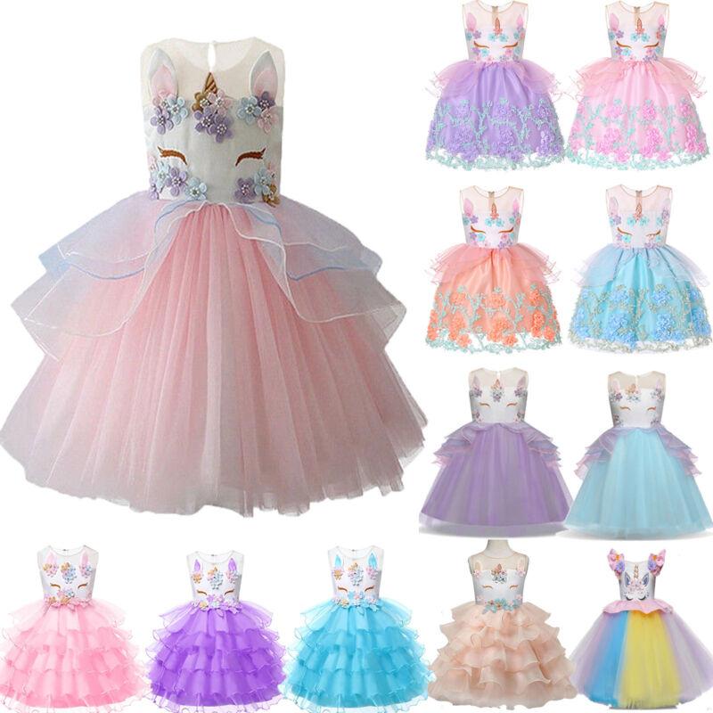 Mädchen Einhorn Kleid Kinder Prinzessin Hochzeit Brautjungfer Partykleid Kostüm