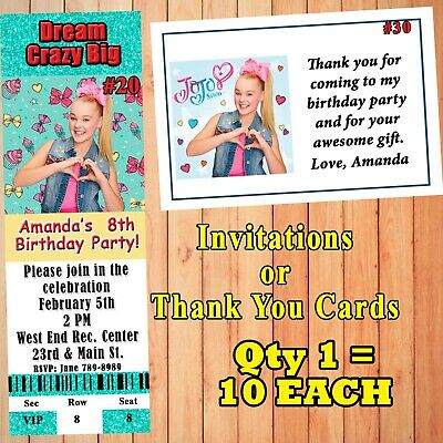 JoJo Siwa Birthday Invitations 10 ea with Env or Thank You Cards Personalized](Birthday Thank You Cards)