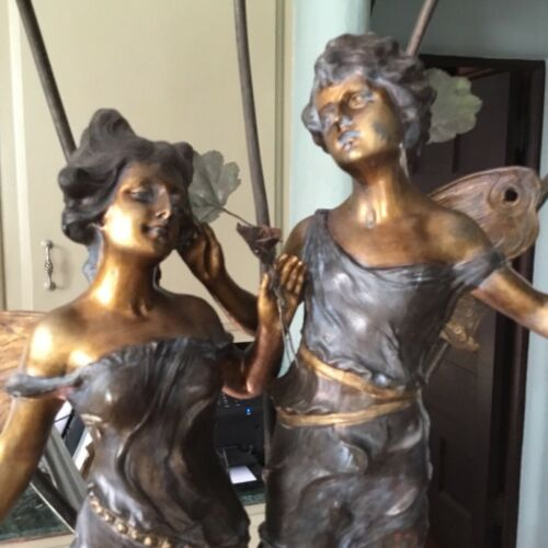 """Art Nouveau Style Spelter Statue of Winged Male/Female  Fairies Five lites 41"""" H"""