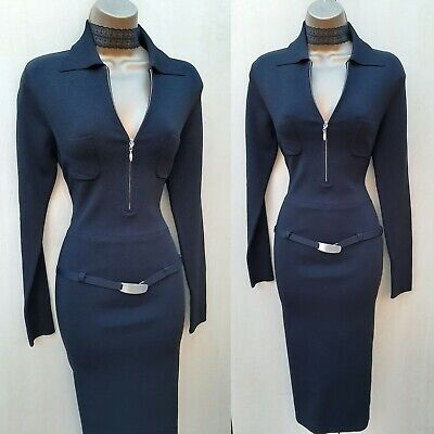 KM-3 UK 12 Karen Millen Black Sporty Knit Low Waist Belt Bodycon Jumper Dress