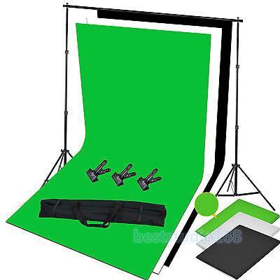 Photo Studio Black White Green Backdrop Chroma Key Screen Background Stand Kit