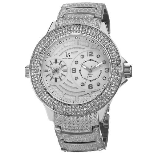 New Men's Joshua & Sons JS80SS Swiss Dazzling Diamond-Accented Bracelet Watch