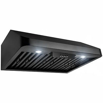 "30"" Under Cabinet Black Stainless Steel Push Panel Kitchen Range Hood Cook Fan"