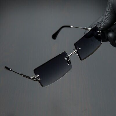 Rimless Dark Purple Tint Rectangle Silver Frame Retro Mens Fashion Sunglasses